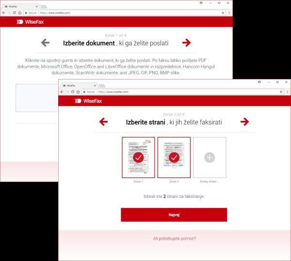 Predogled in enostavna izbira strani za spletni faks.